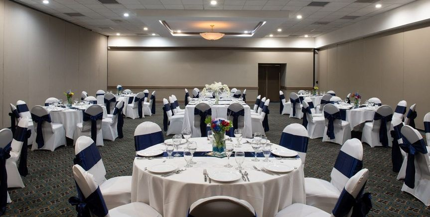 Our spacious ballroom can accommodate upwards of 350 guests.