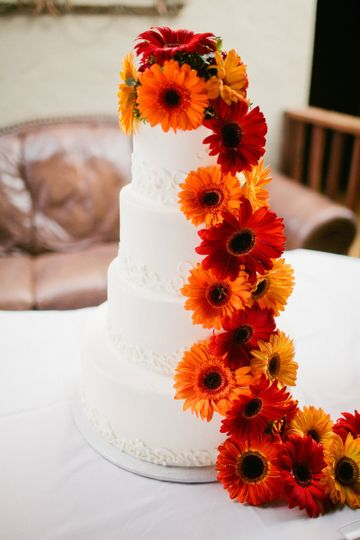 White wedding cake with flowers