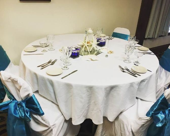 Aqua blue-themed table set-up
