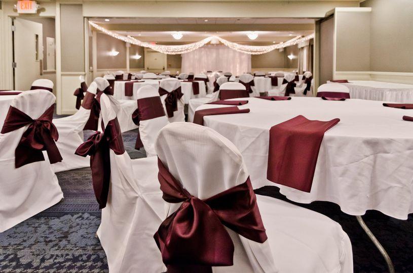 Burgundy-themed reception set-up