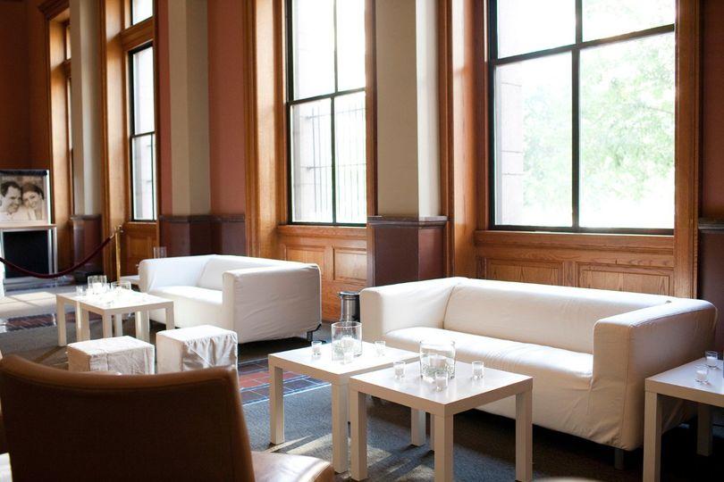Lounge furniture at the Landmark Center