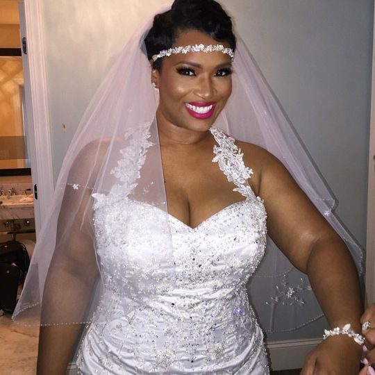 Bridal dress and headpiece