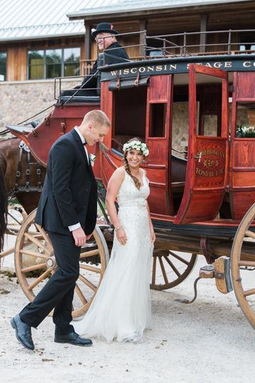 Couple about to enter the carriage