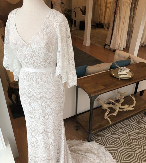 Lace gown and studio view
