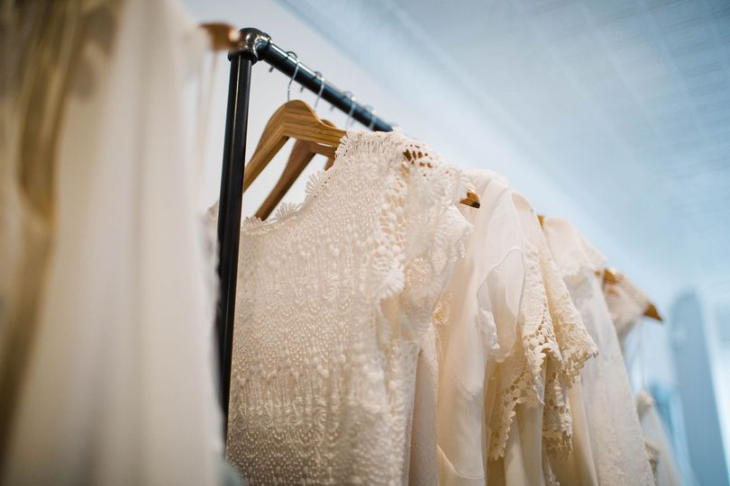 Wedding gowns all in a row