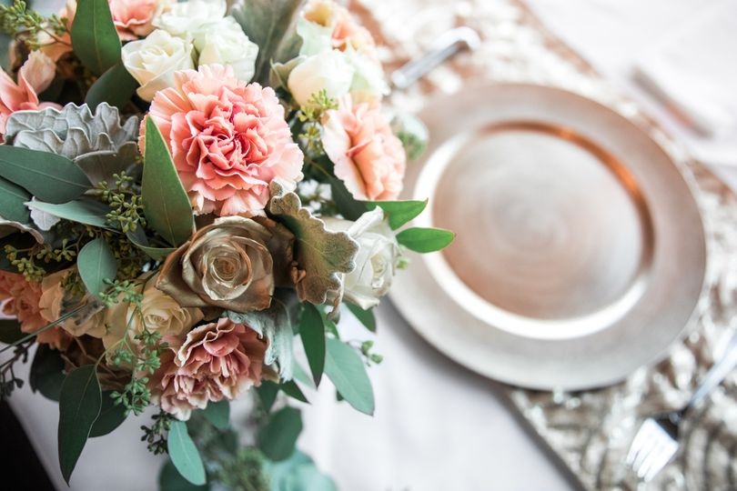 Gold and Rose Centerpiece