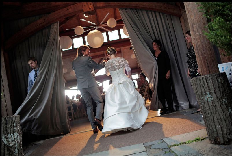Couple entering the reception