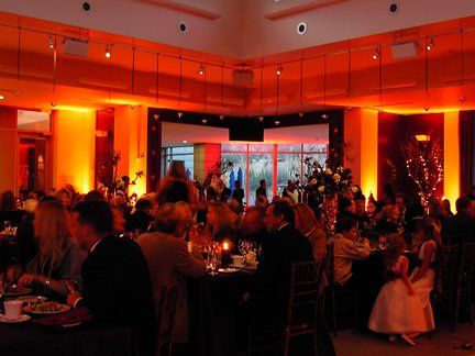 Ambient room lighting at a fall wedding