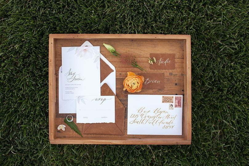 A gorgeous mountain luxury wedding invitation suite
