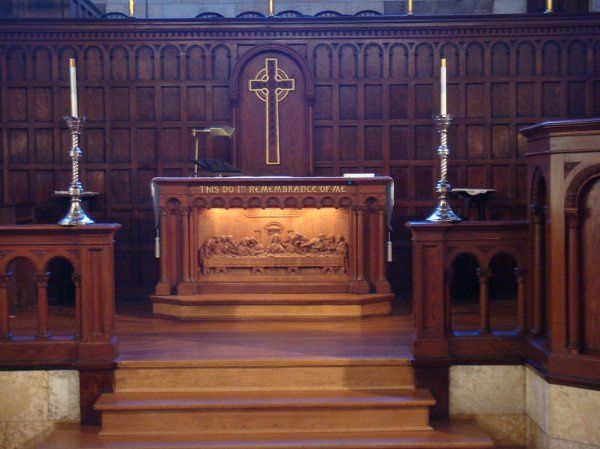 The hand carved altar depicting DaVinci's 'The Last Supper'.