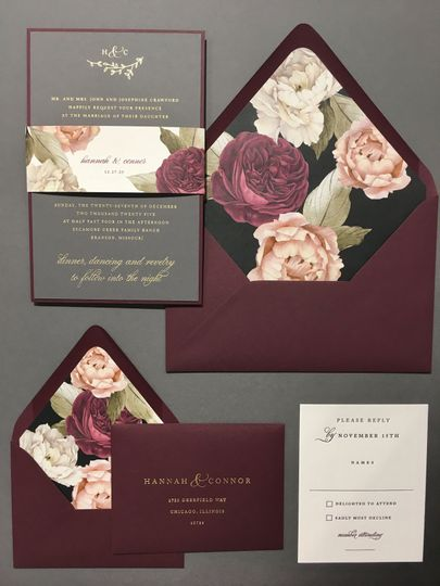 Maroon invitation suite