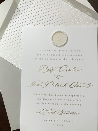 Wax seal gray with gold foil