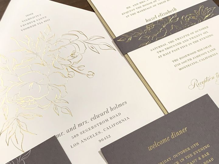 Gold foil flowers and imprint