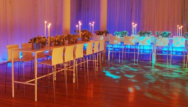 Create a fresh look at your next cocktail reception.  Our White Runner Tables and Flex Barstools...