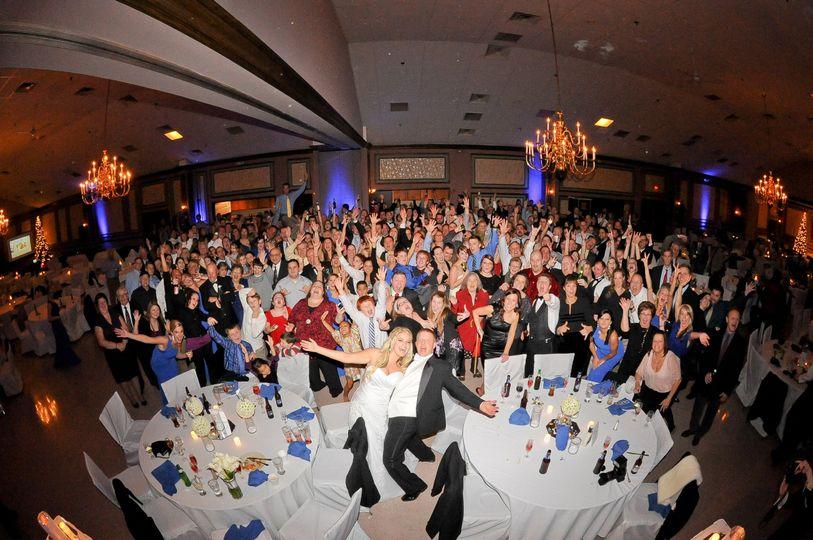 Amazing Group Photo!  Winter Wedding with Blue Up Lighting!