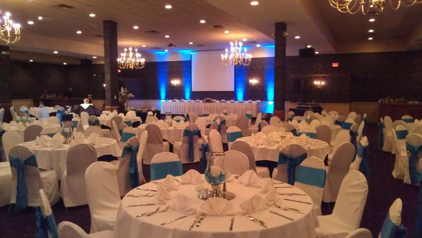 Malibu Blue Uplights!  Looked great with the Chair Sashes!