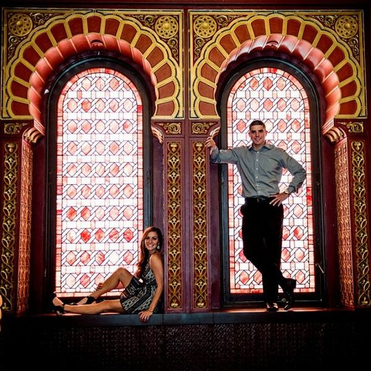 Engagement photos in our Oriental Ballroom.  There's no shortage of stained glass at the Grand.
