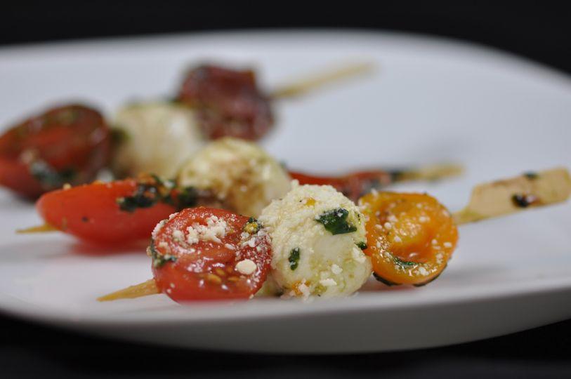 Baby tomato caprese skewer