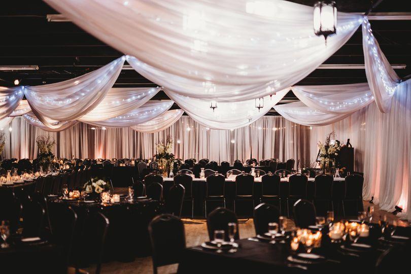 Glittering drapes and decor