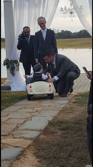 Ring bearer arriving at the front