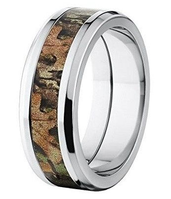 """Custom made in the USA, the """"Bowman"""" camouflage ring features a durable titanium band and an inlay..."""