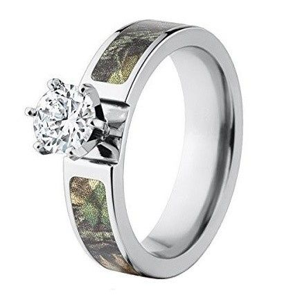 """Custom made in the USA, the """"Tignall"""" Mossy Oak camo engagement ring features a durable cobalt..."""