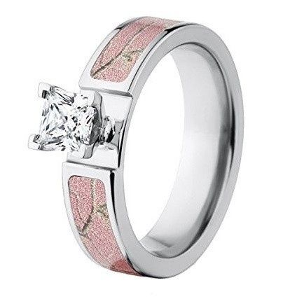 "Custom made in the USA, the ""Crawford"" pink camo engagement ring features a durable cobalt chrome..."