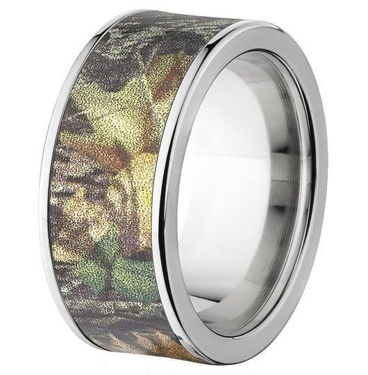 "Custom made in the USA, the 10mm wide ""Pelham"" camouflage wedding band features a durable titanium..."