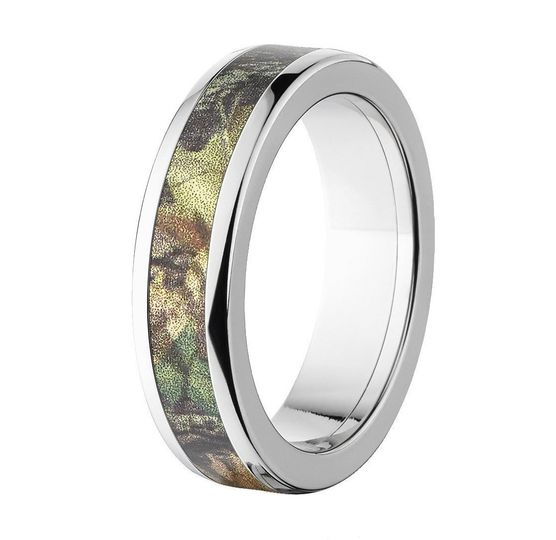"The ""Cohutta"" camo ring features an extra durable titanium band with an inlay of the officially..."