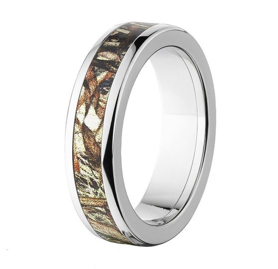 """The """"Satilla"""" camo wedding band features a super durable titanium band with an inlay of the..."""