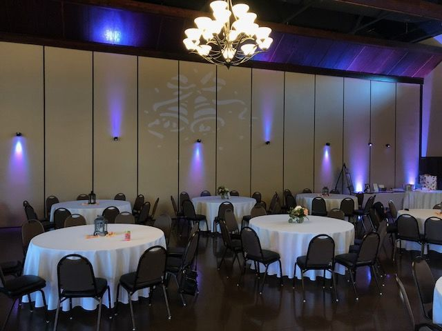 Bella Sala dividing wall with Gobo and Down Lighting