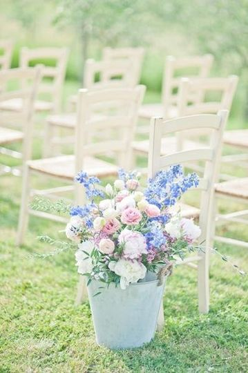 rustic flowers - outdoor ceremony