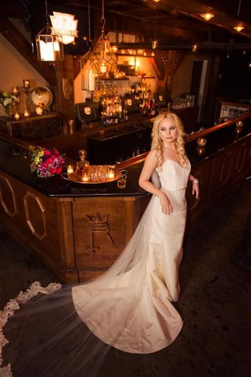 Bride by the bar
