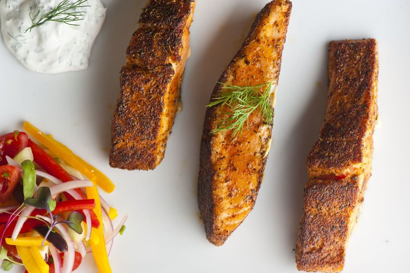 salmon with mint