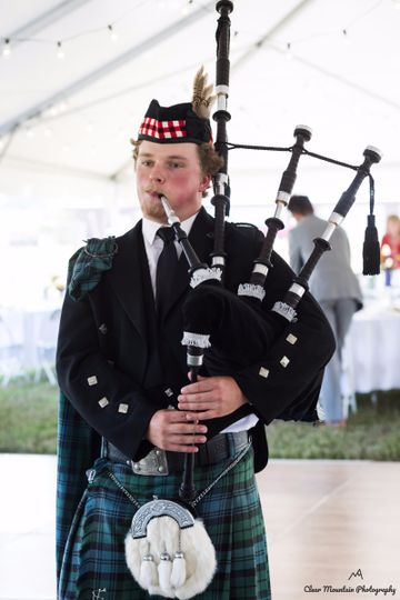 Playing the bagpipe