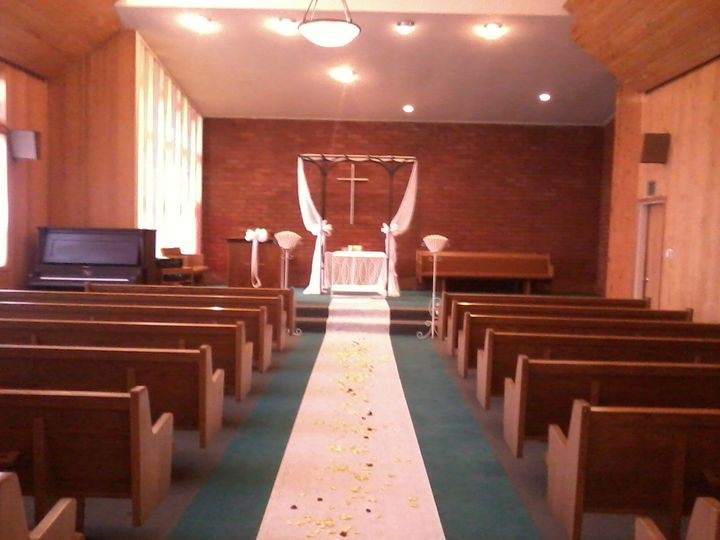Chapel decorated for a wedding