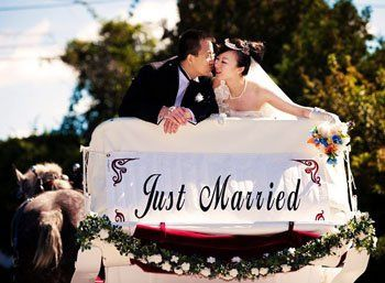 """We have a """"Just Married"""" banner for the back of the carriage, to let everyone know you've tied the..."""