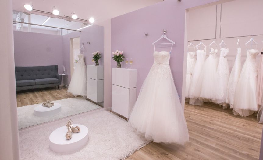 Our spacious dressing rooms give you a private oasis to try on dresses. This is the Lavender room.