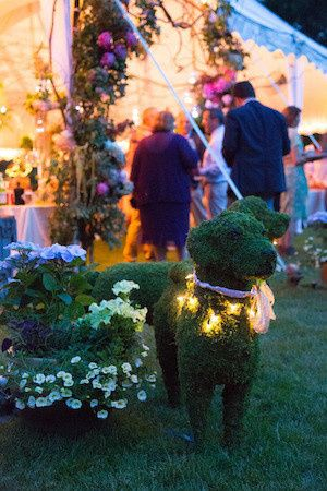These special order topiary dogs greeted guests as they entered the reception tent A Lab and a...