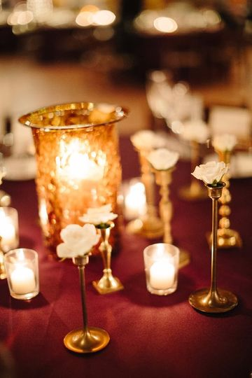 Gold and burgundy centerpiece