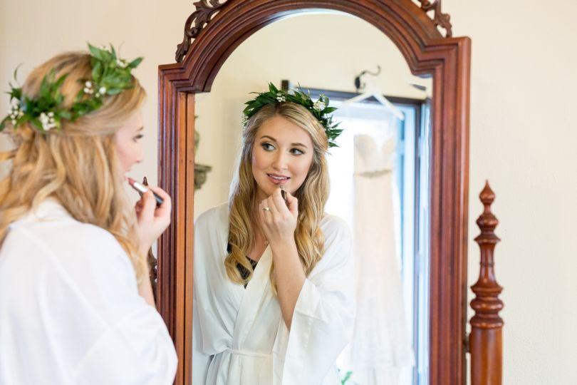 Bride getting ready at Casa Fe