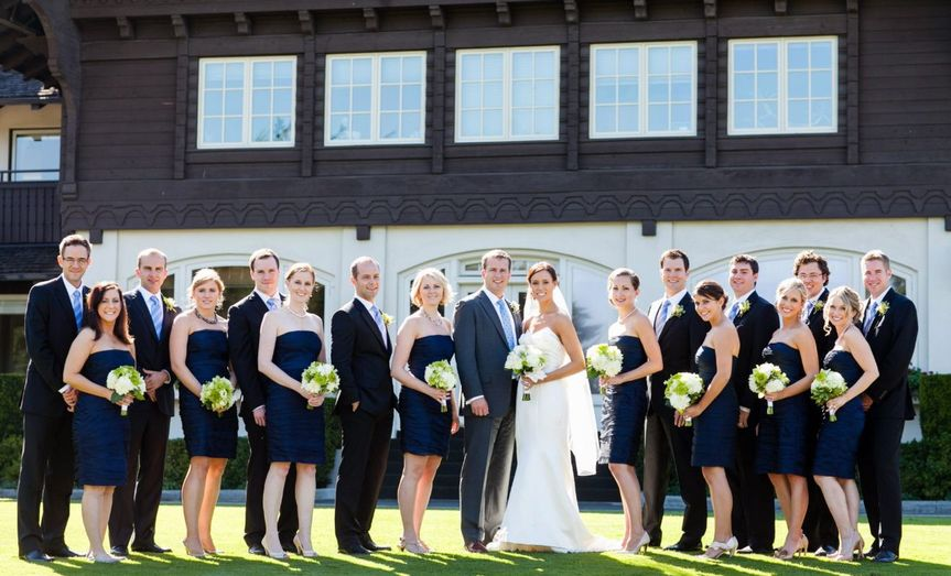 Couple's with their groomsmen and bridesmaid
