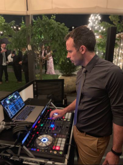 DJ'ing the reception