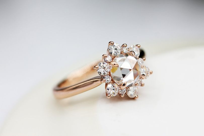 Rose cut moissanite ring