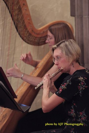 Flute and Harp at church ceremony | AJF Photography