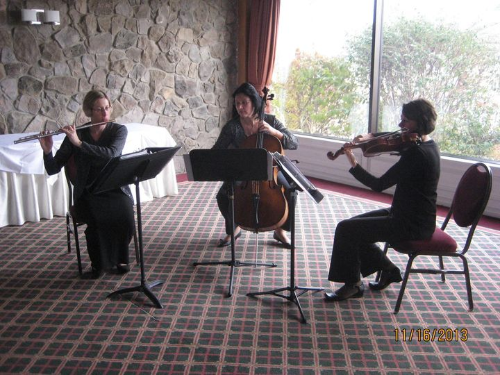 Flute, Violin, & Cello at 100th Bomb Group Restaurant wedding ceremony