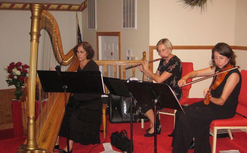 Flute, Violin, & Harp at church ceremony