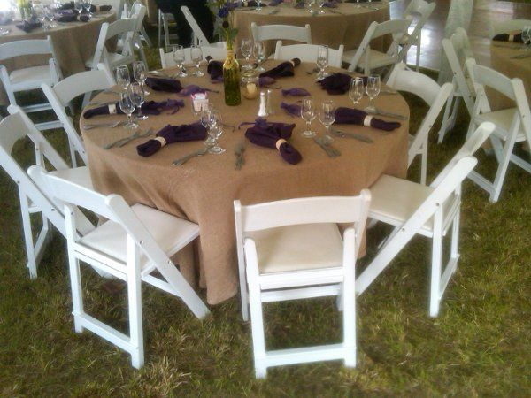 White Padded Garden Chairs with Burlap Linens