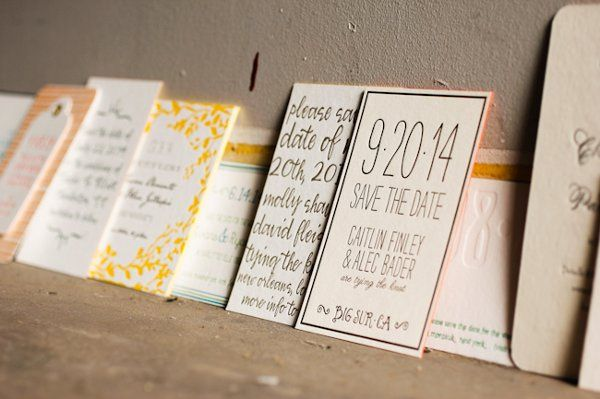 An assortment of save-the-dates, letterpress printed by Smock.