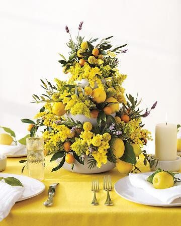 Yellow table decor and centerpiece